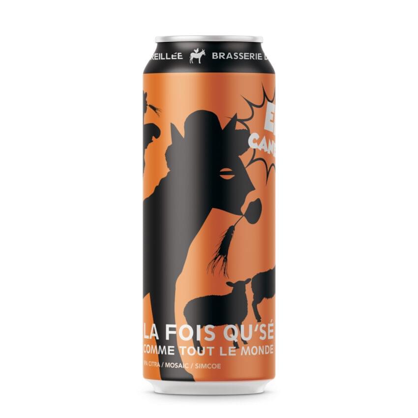 Canette de bière par Brasserie Dépareillée. IPA américaine nommée La fois qu'sé Comme tout le monde.