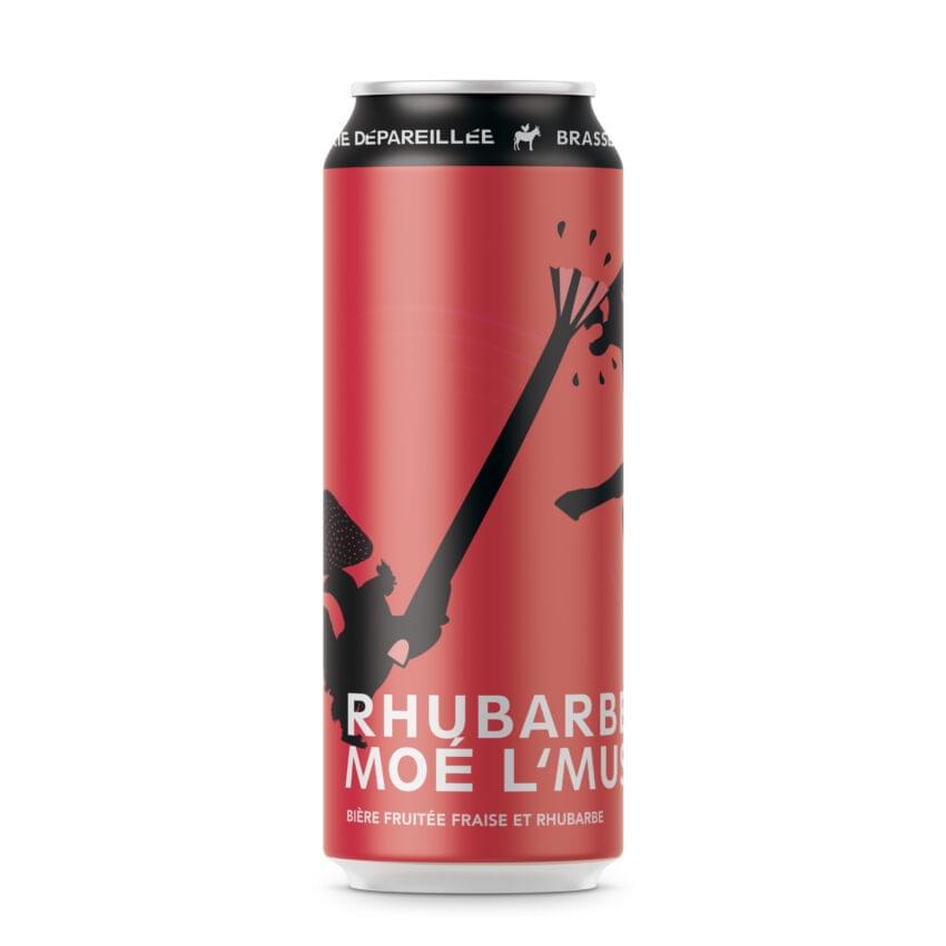 Canette de bière par Brasserie Dépareillée, nommée Rhubarbe moé l'museau