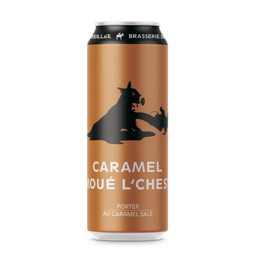 Bière de microbrasserie de type Porter au caramel salé. Caramel moé l'chest par Brasserie Dépareillée.