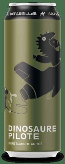 Canette de bière de Brasserie Dépareillée. La Dinausaure Pilote, une blanche au thé.